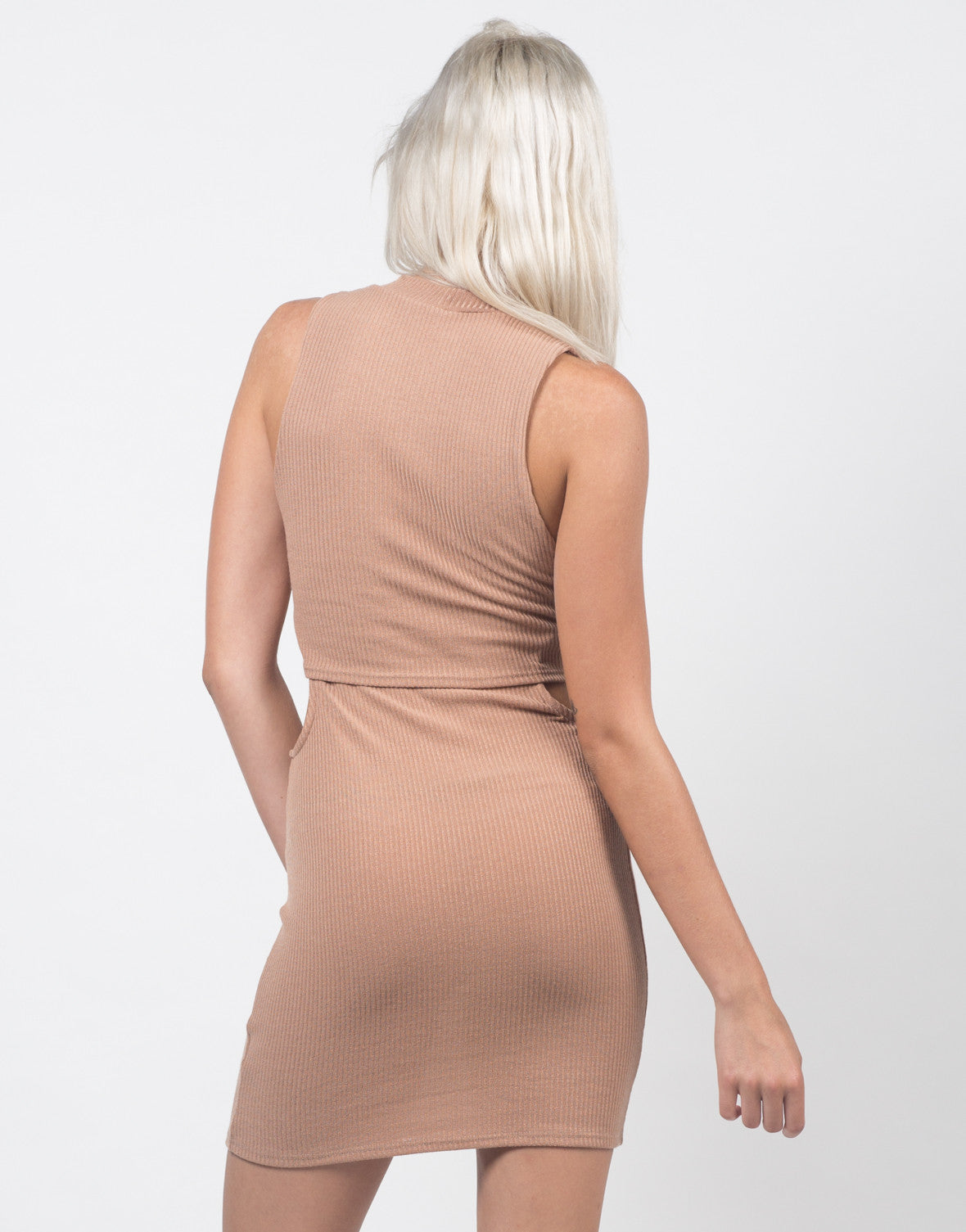 Back View of Cut Out Ribbed Dress