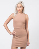Front View of Cut Out Ribbed Dress
