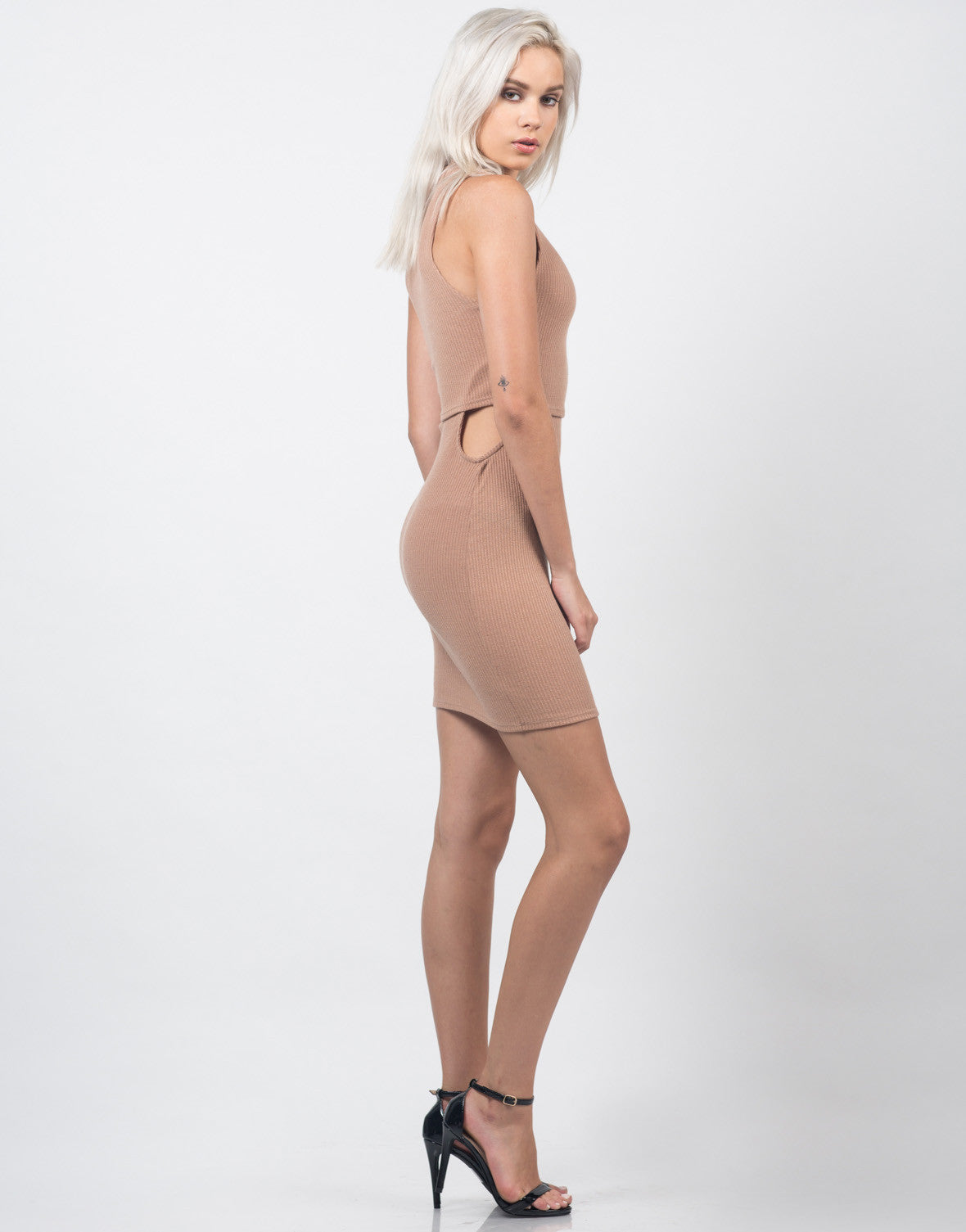 Side View of Cut Out Ribbed Dress
