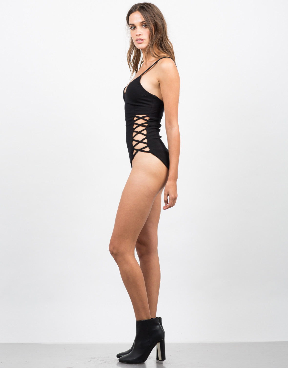 Side View of Cut Out Sides Bodysuit
