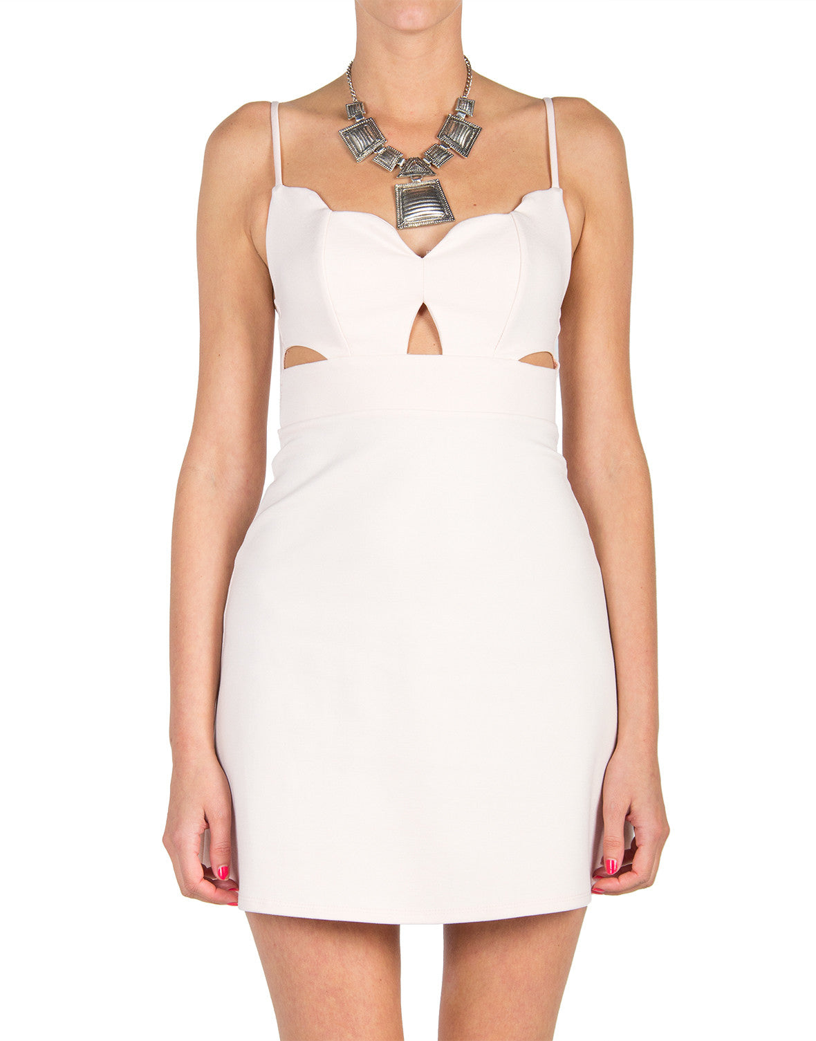Cut Outs Scalloped Neckline Dress