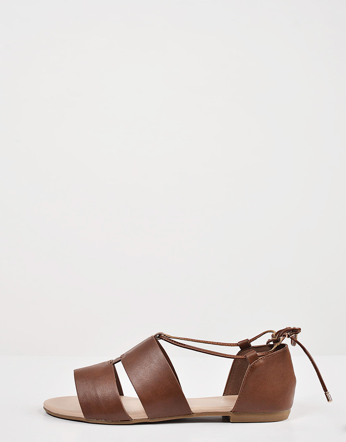 Side View of Cut Out Strappy Ballerina Flats