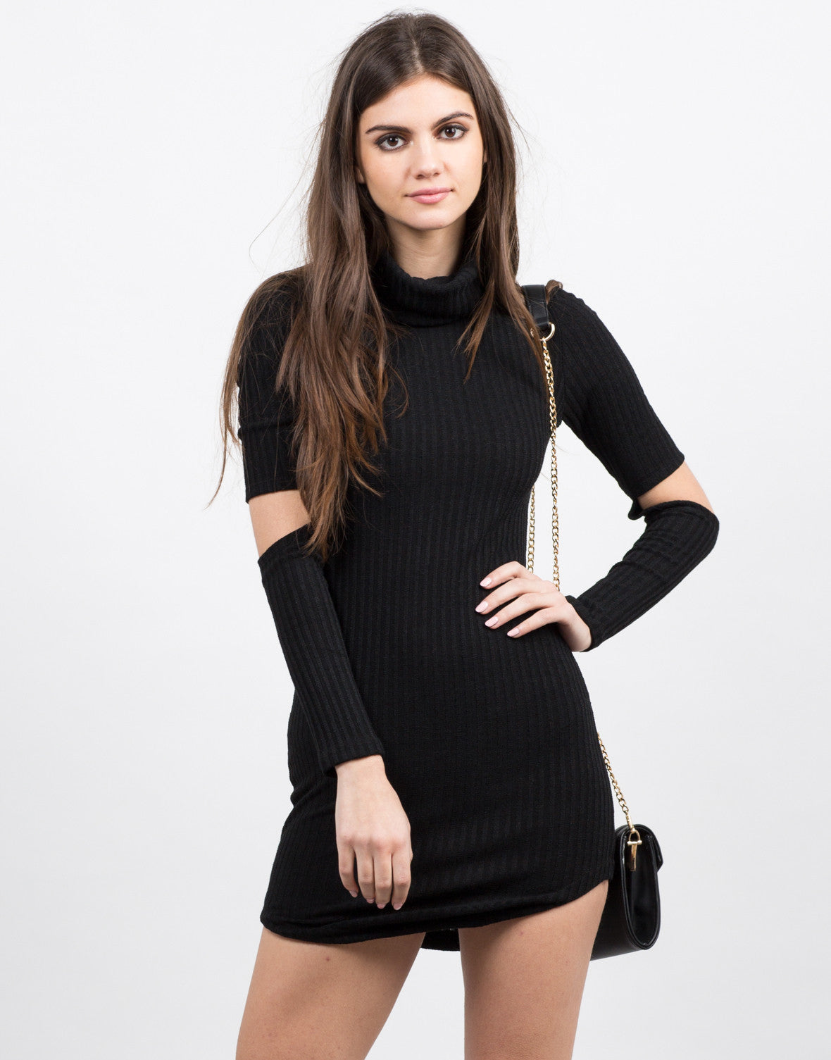 Front View of Cut Up Turtleneck Dress