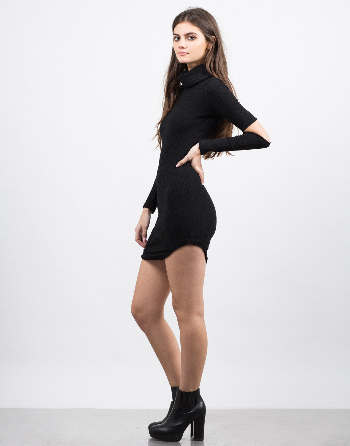 Side View of Cut Up Turtleneck Dress