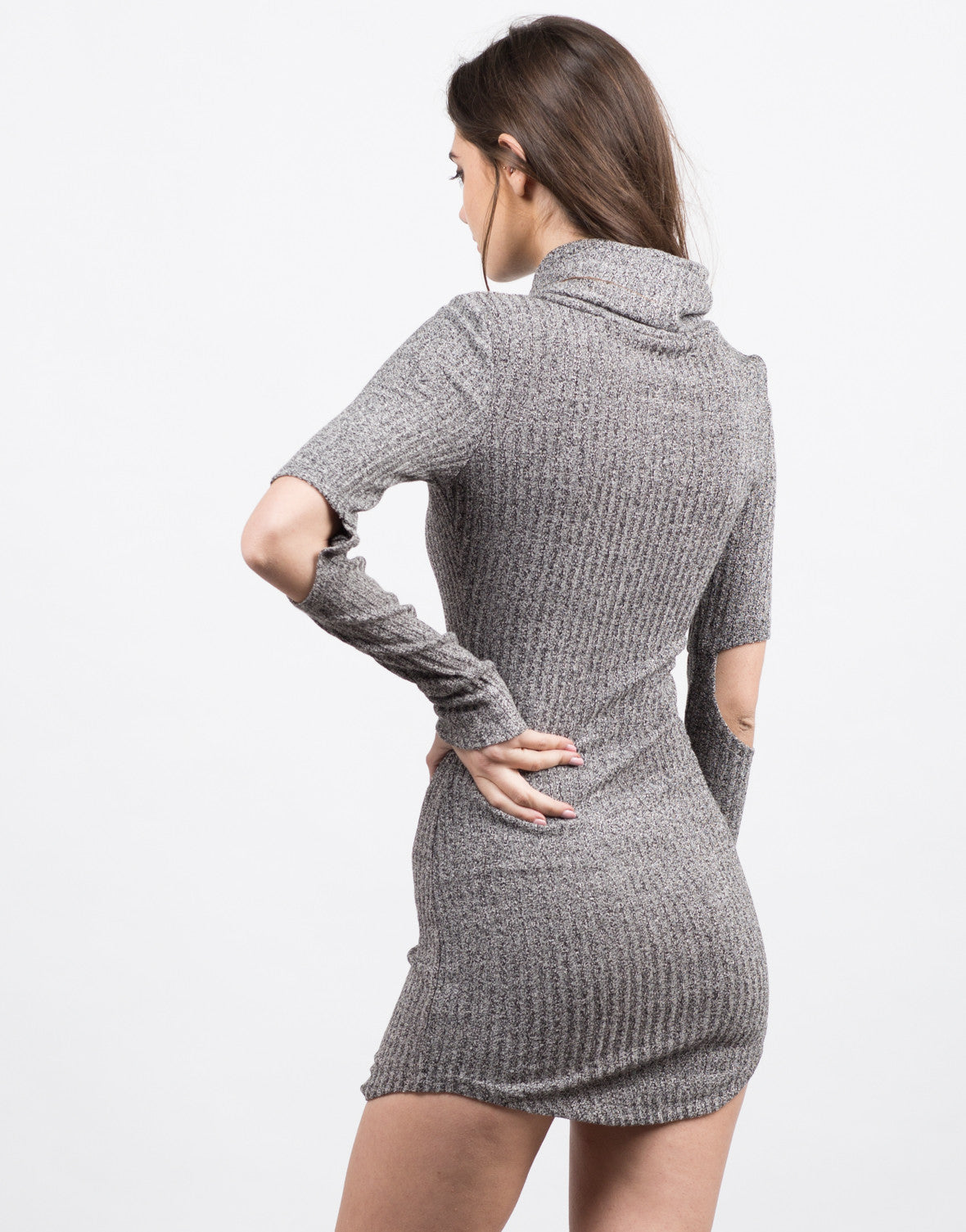 Back View of Cut Up Turtleneck Dress