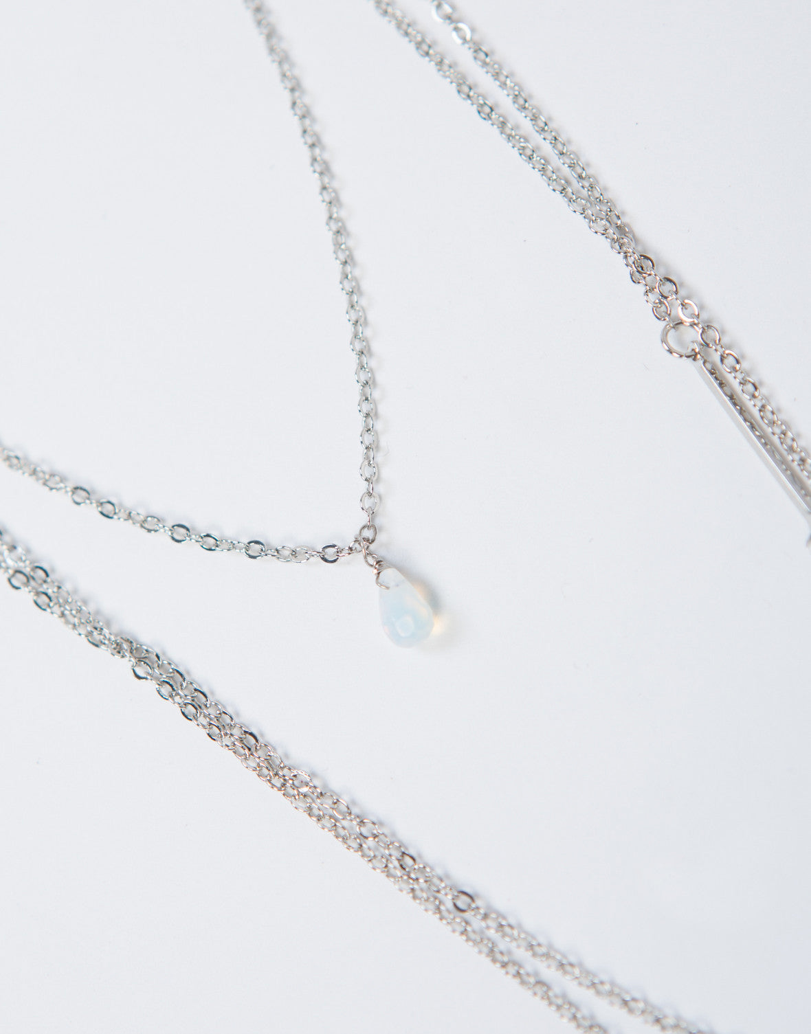 Dainty Layered Stone Bar Necklace