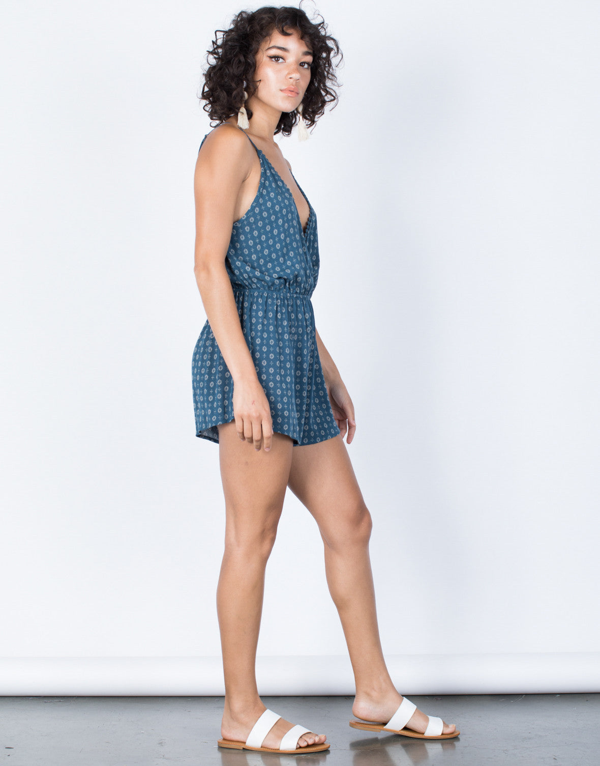 Teal Daisy Wrapped Romper - Side View