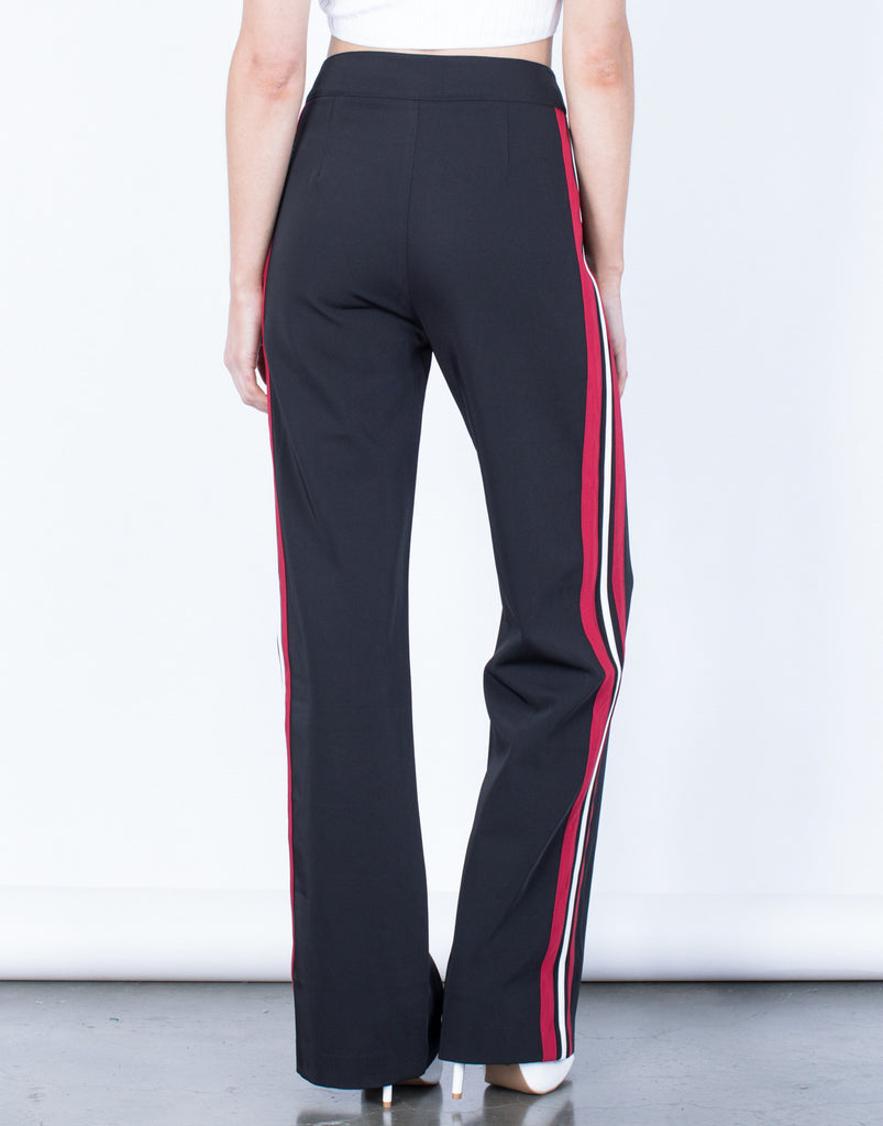 Back View of Daring Red Striped Pants