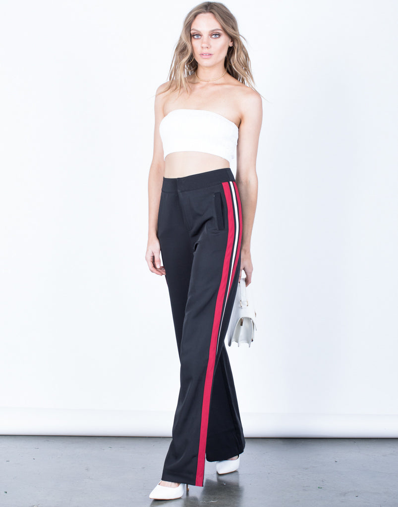 Front View of Daring Red Striped Pants