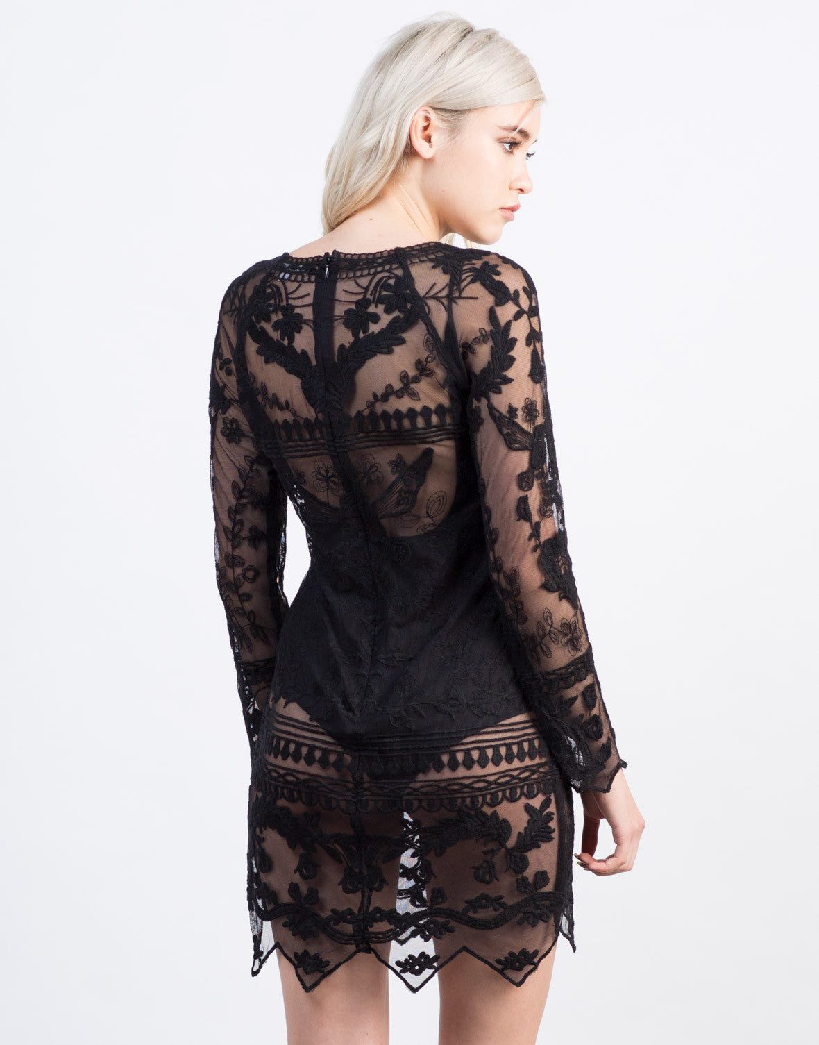 Back View of Dark Floral Sheer Dress