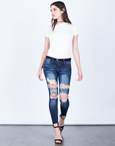Front View of Dark Wash Cropped Jeans