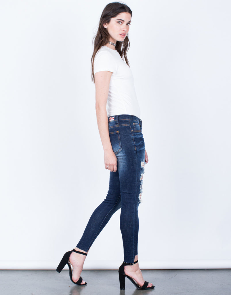 Side View of Dark Wash Cropped Jeans