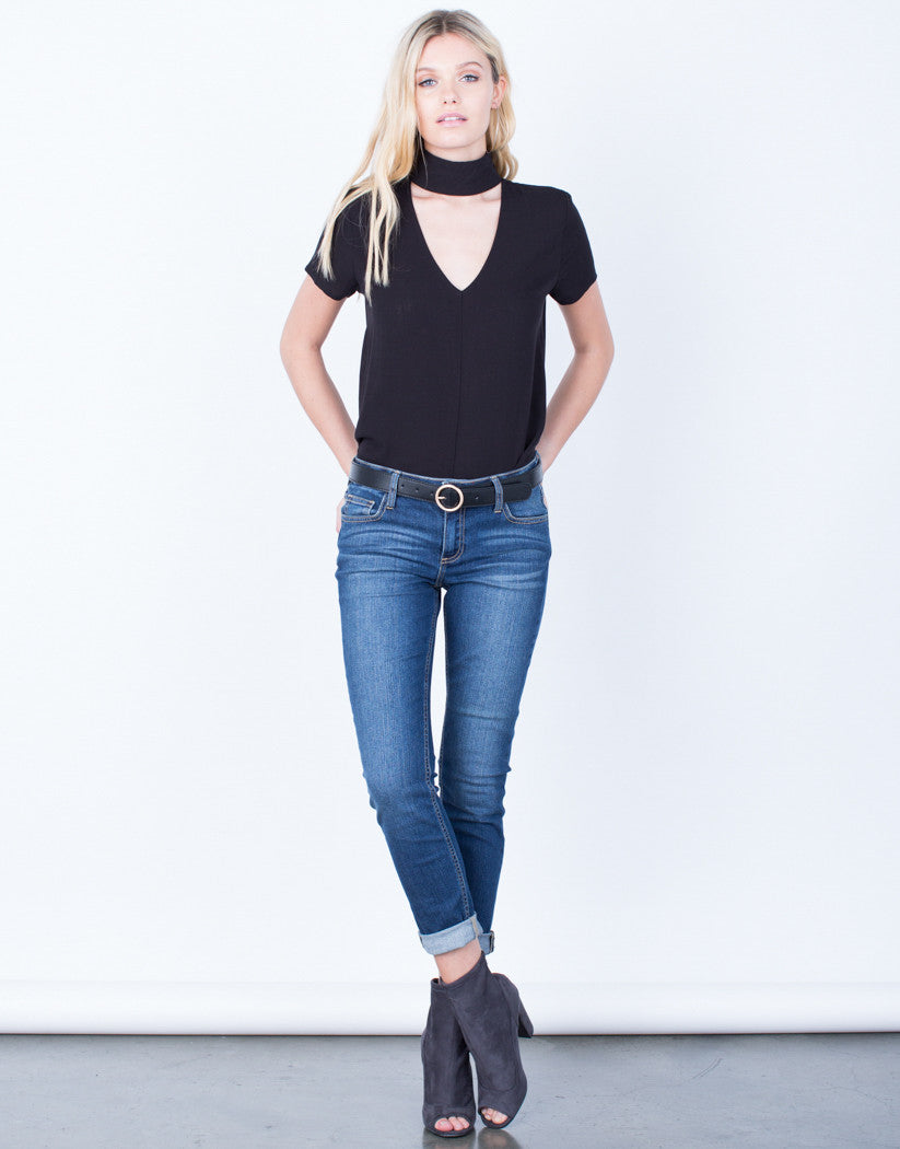 Front View of Dark Wash Skinny Jeans