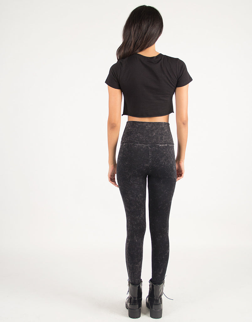 Dark Acid Washed High Waisted Leggings - Medium - 2020AVE