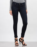 Front View of Dark Denim Jeggings