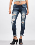 Front View of Dark Destroyed Skinny Capri Jeans