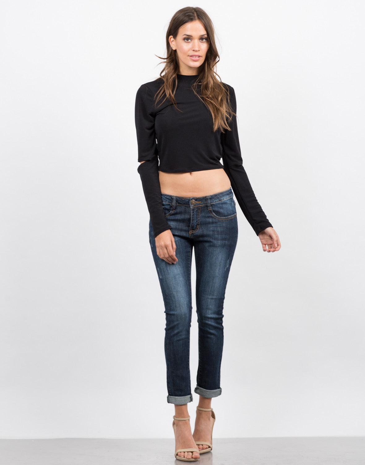 Front View of Dark Wash Capri Jeans