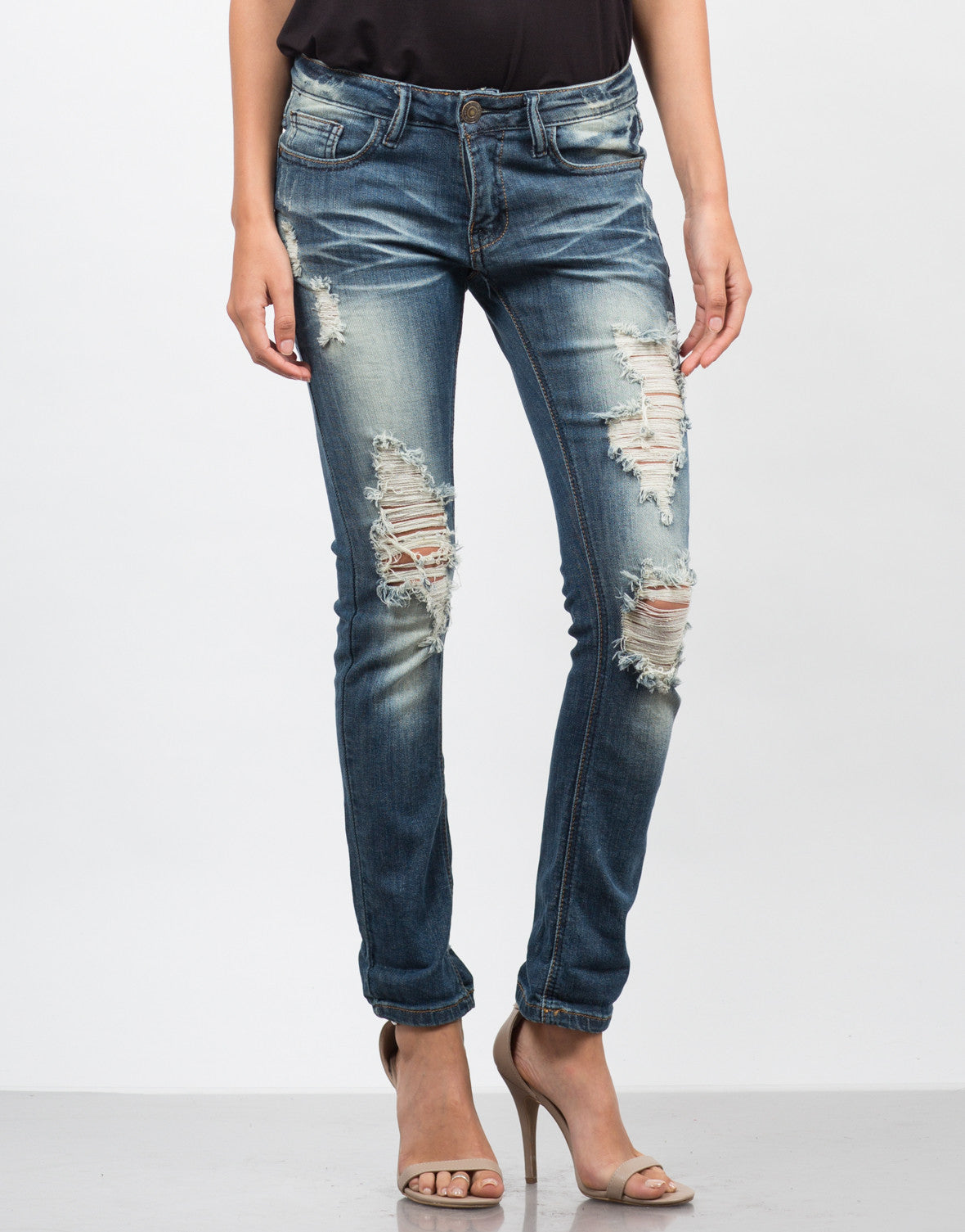 Front View of Dark Wash Destroyed Ankle Jeans