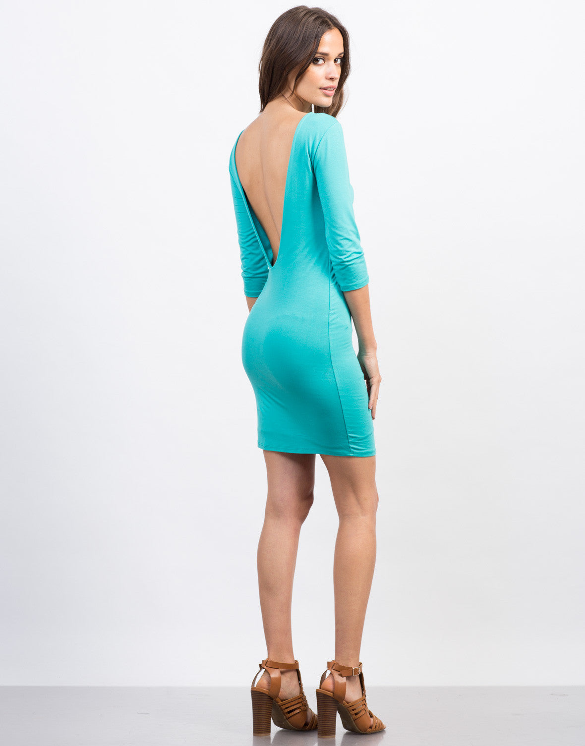 Back View of Deep Back Bodycon Dress