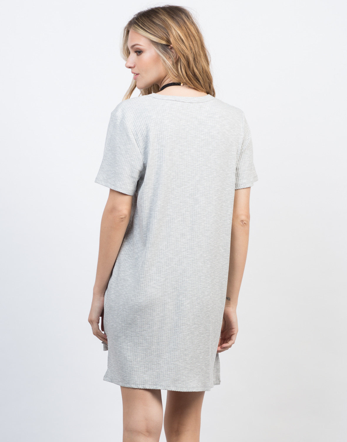 Back View of Deep Cut Ribbed Tee Dress