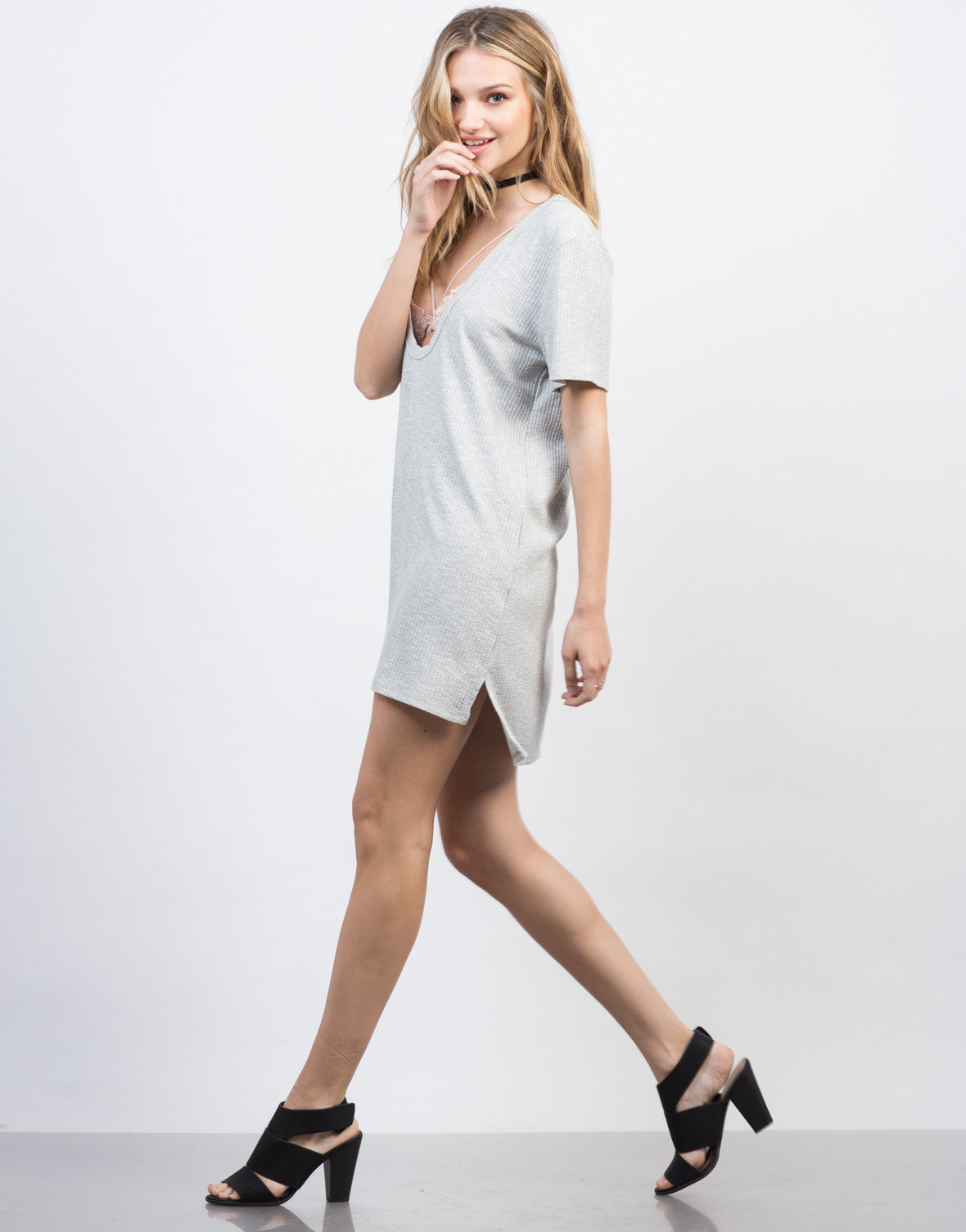 Side View of Deep Cut Ribbed Tee Dress