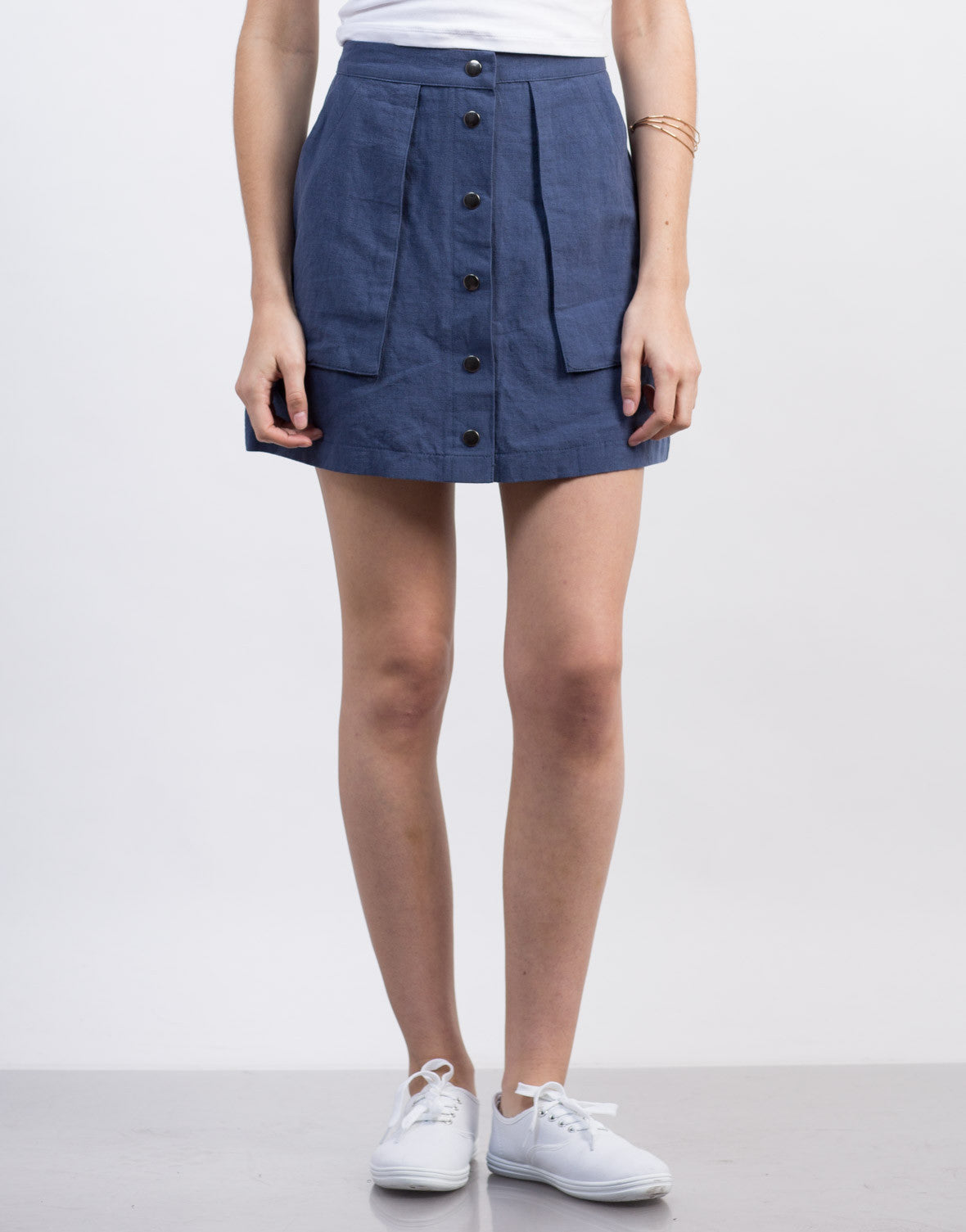 Front View of Deep Pocket Buttoned Skirt