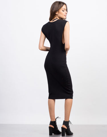 Back View of Deep Side Cut Midi Dress