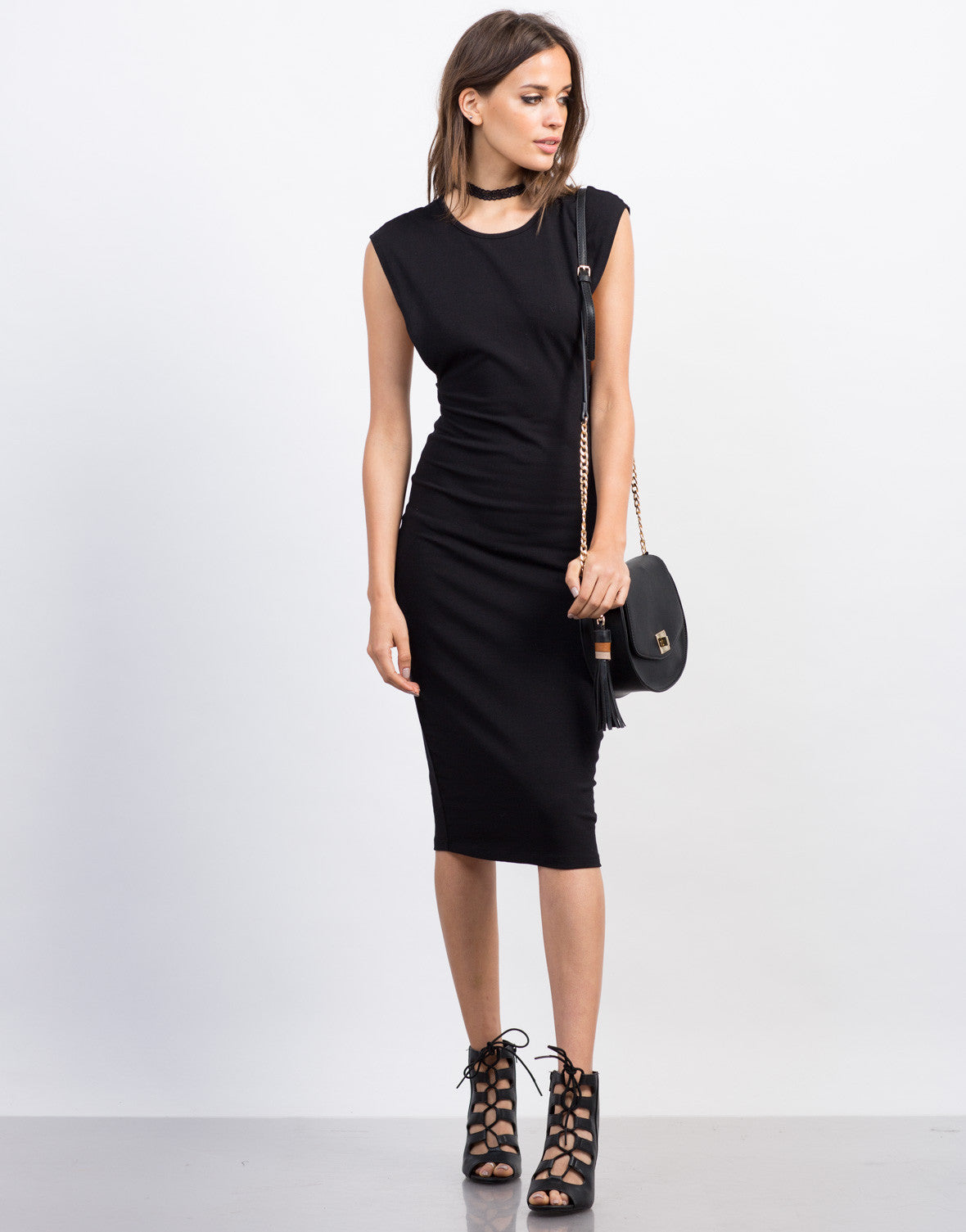 Front View of Deep Side Cut Midi Dress