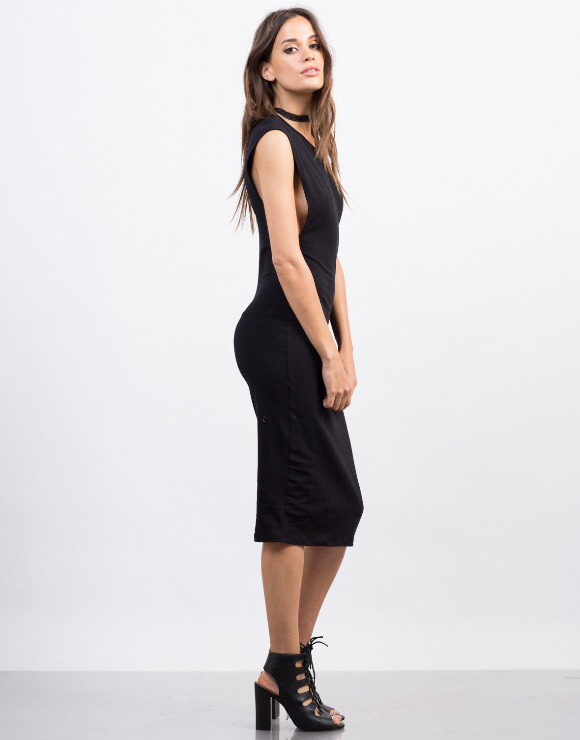 Side View of Deep Side Cut Midi Dress