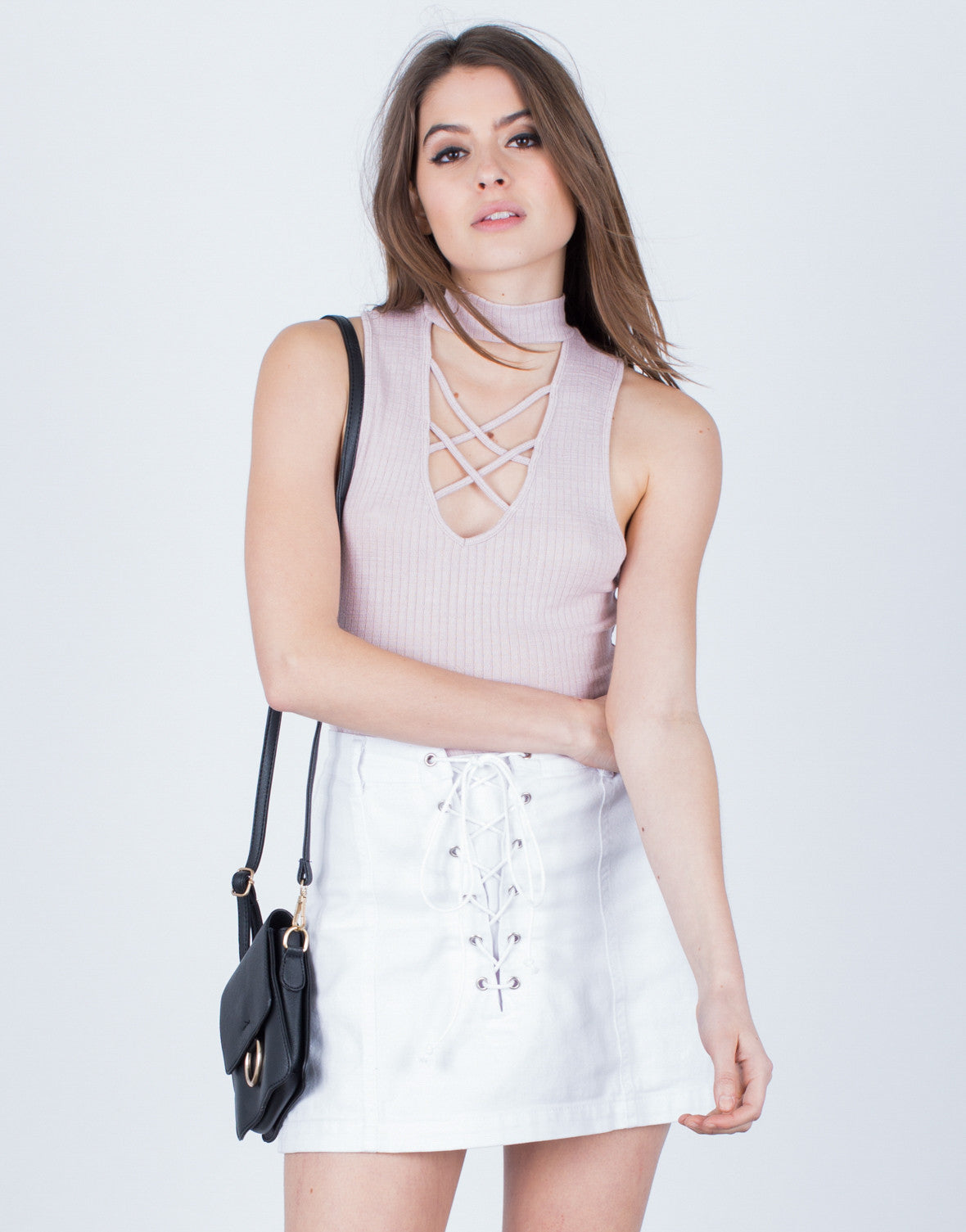 Front View of Deep V Knit Top