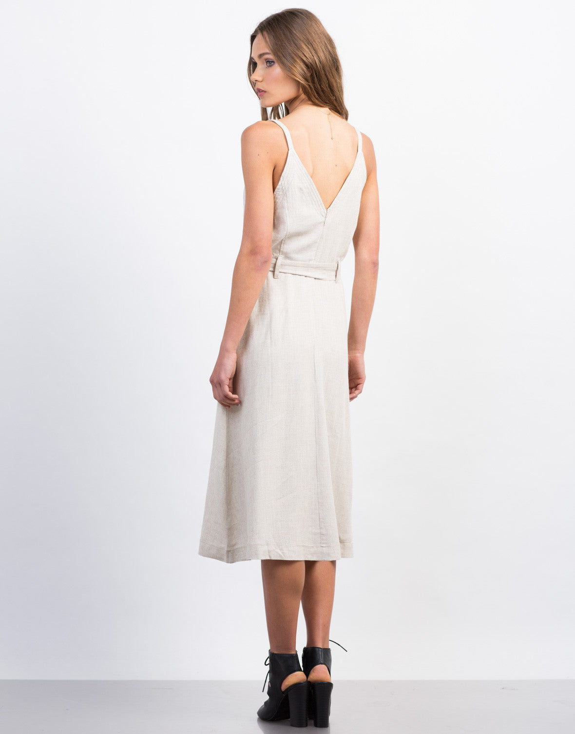 Back View of Deep V Linen Dress