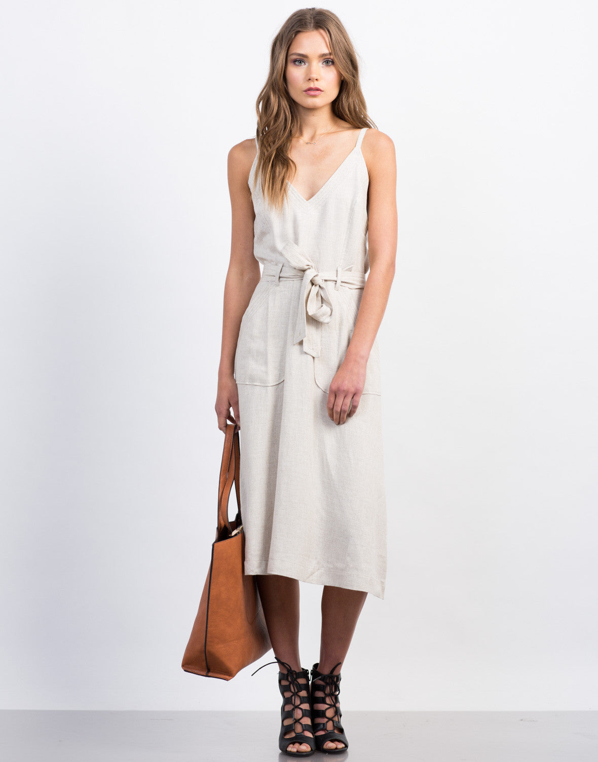 Front View of Deep V Linen Dress