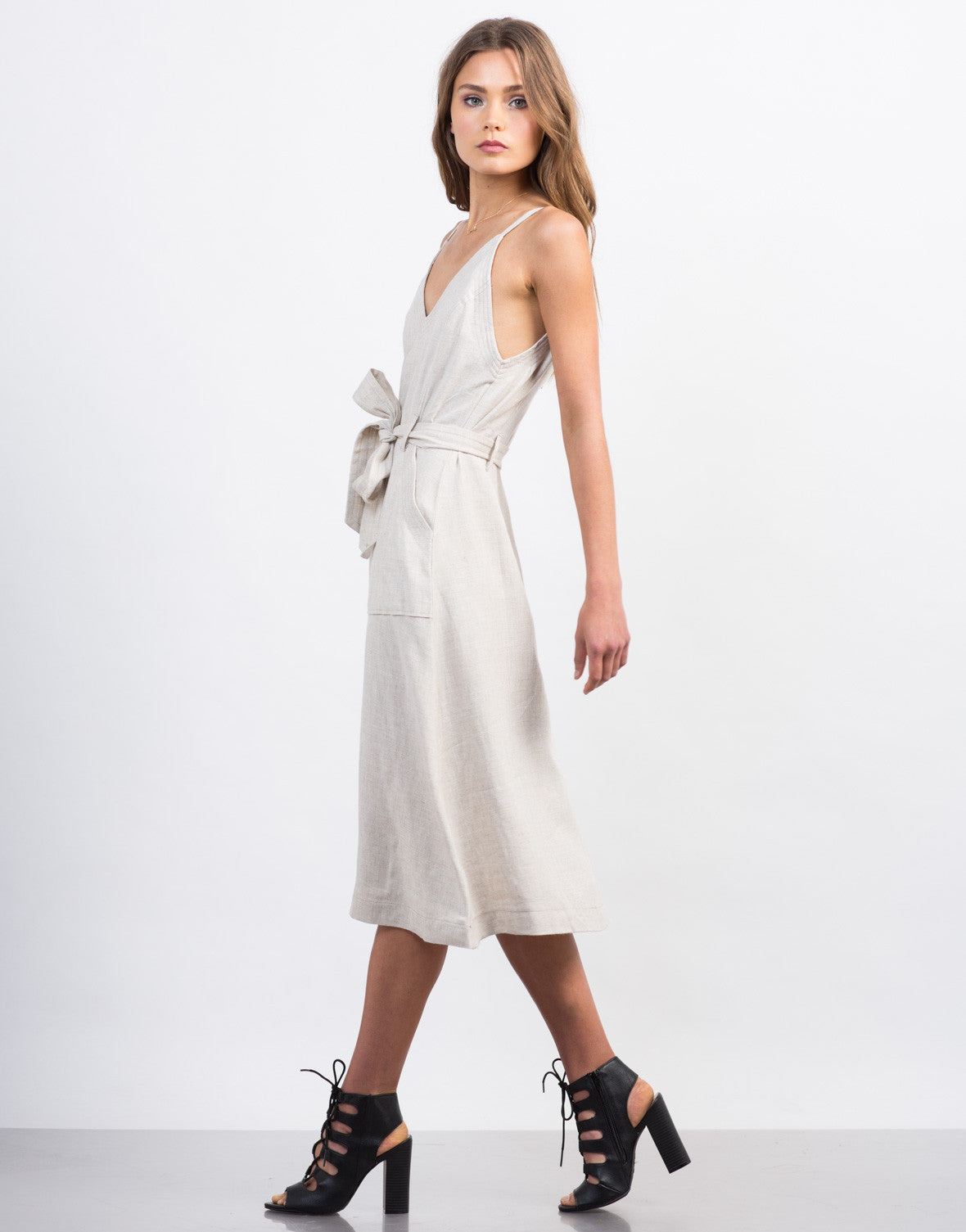 Side View of Deep V Linen Dress