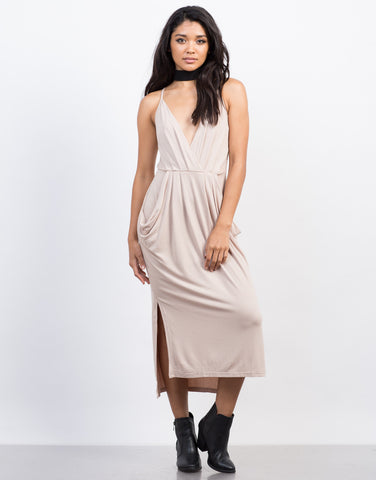 Front View of Deep V Midi Dress