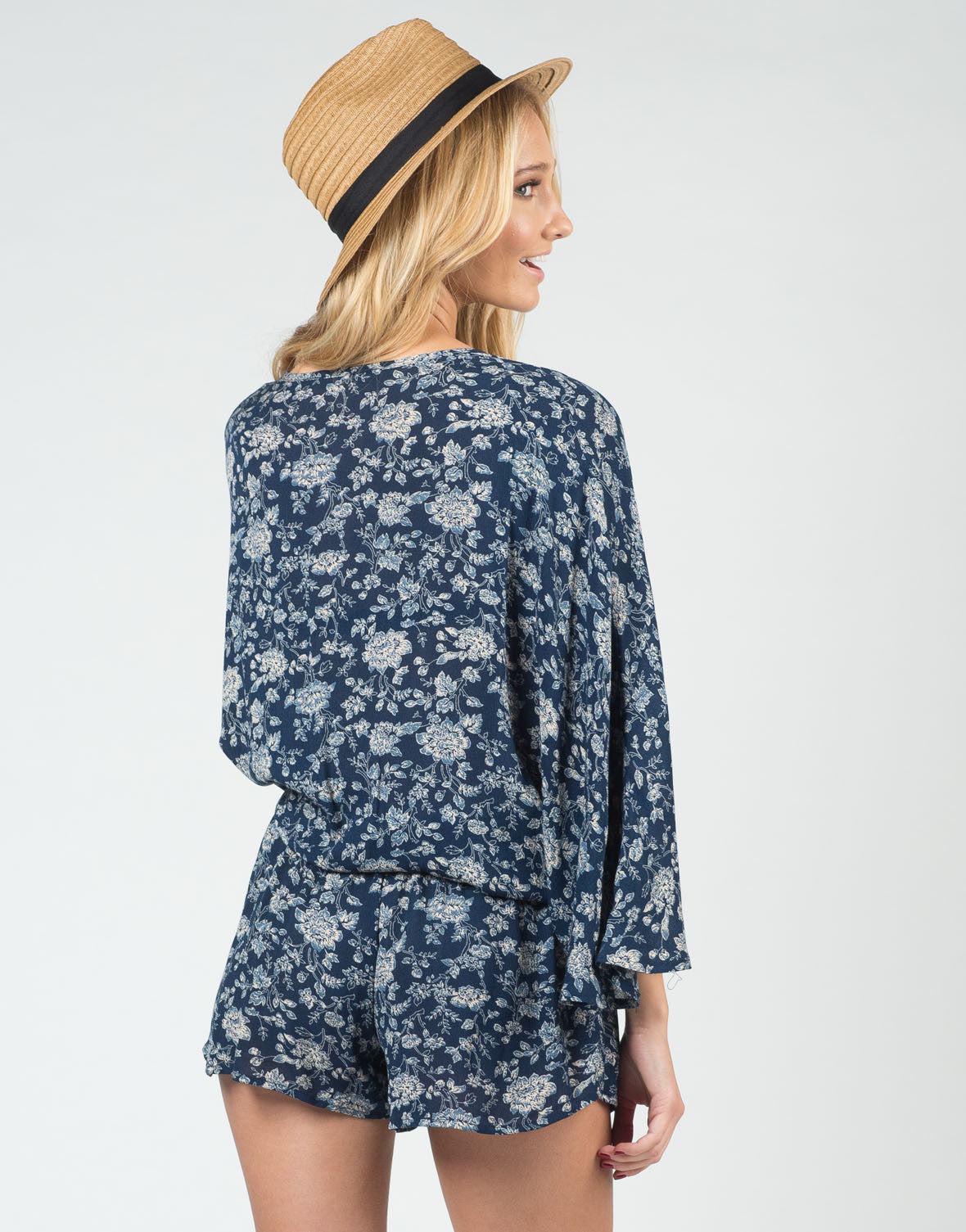Back View of Deep Floral Romper