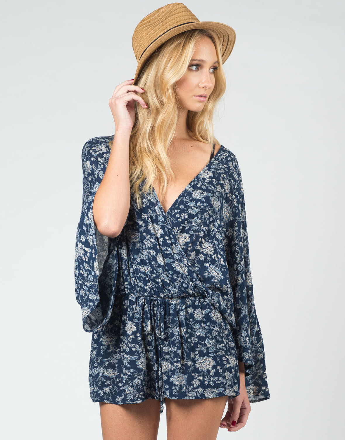 Front View of Deep Floral Romper