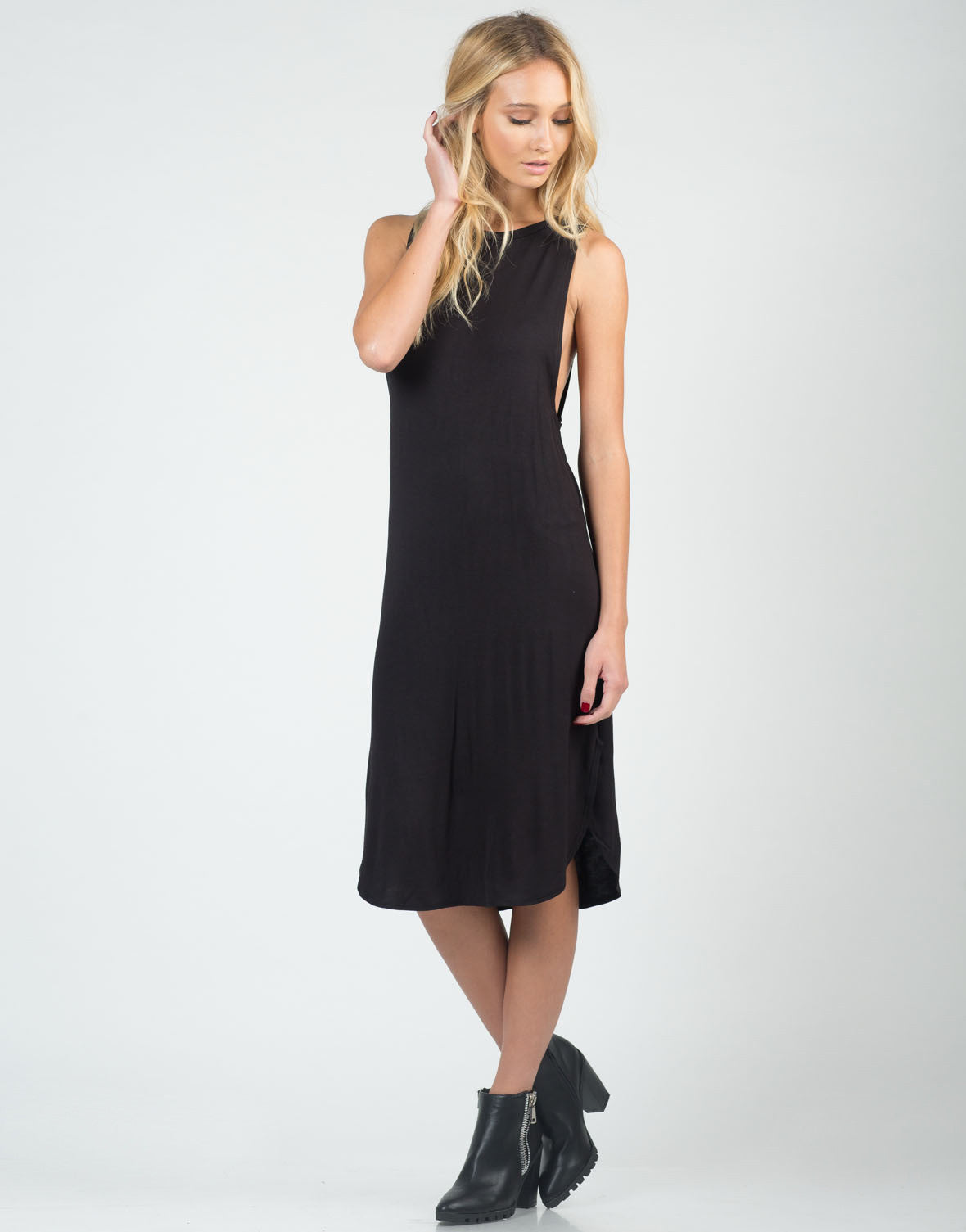Front View of Deep Side Simple Midi Dress