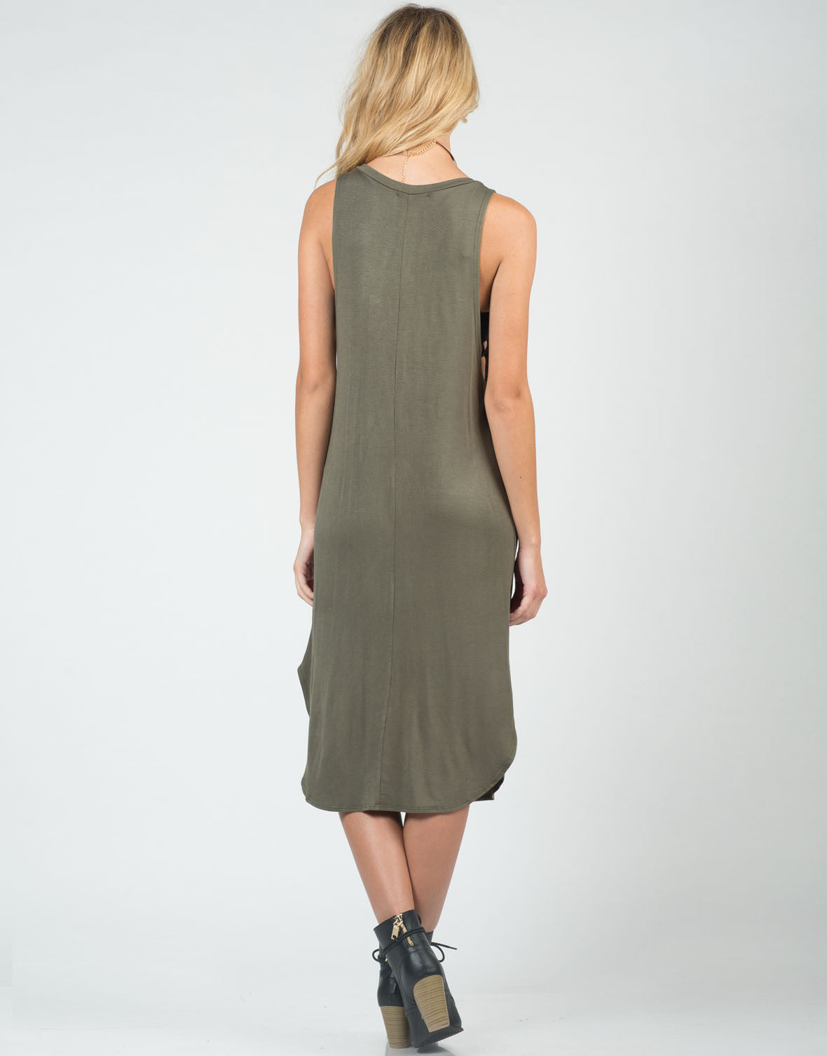 Back View of Deep Side Simple Midi Dress