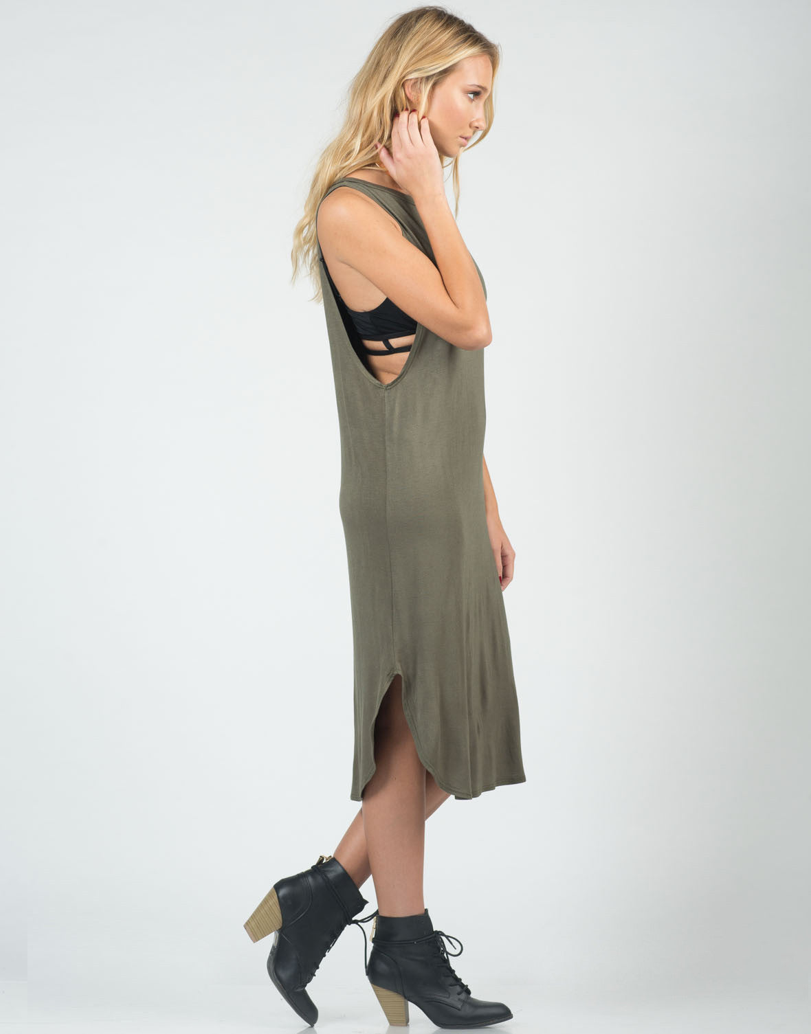 Side View of Deep Side Simple Midi Dress