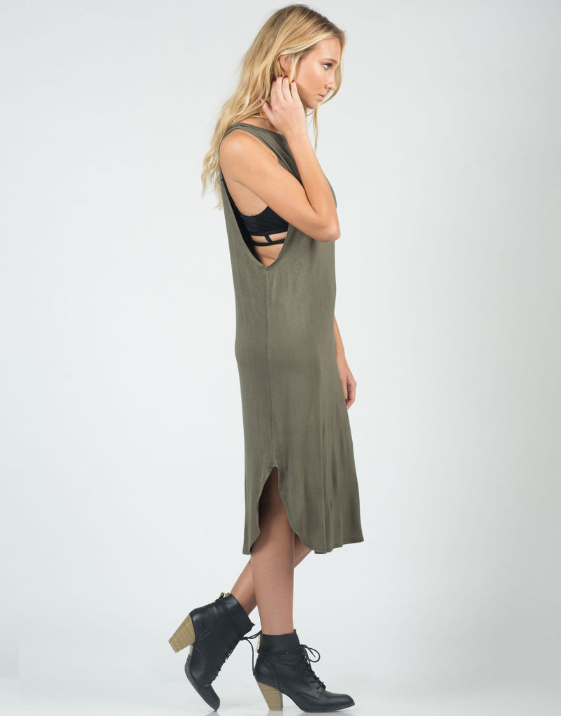 Deep Side Simple Midi Dress - 2020AVE