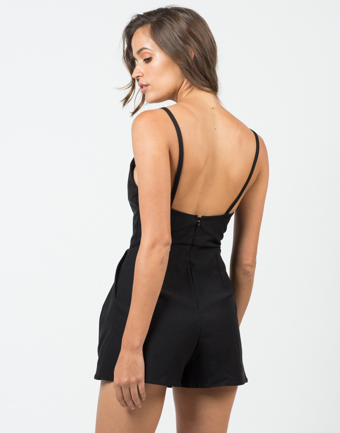 Back View of Deep Sweetheart Romper