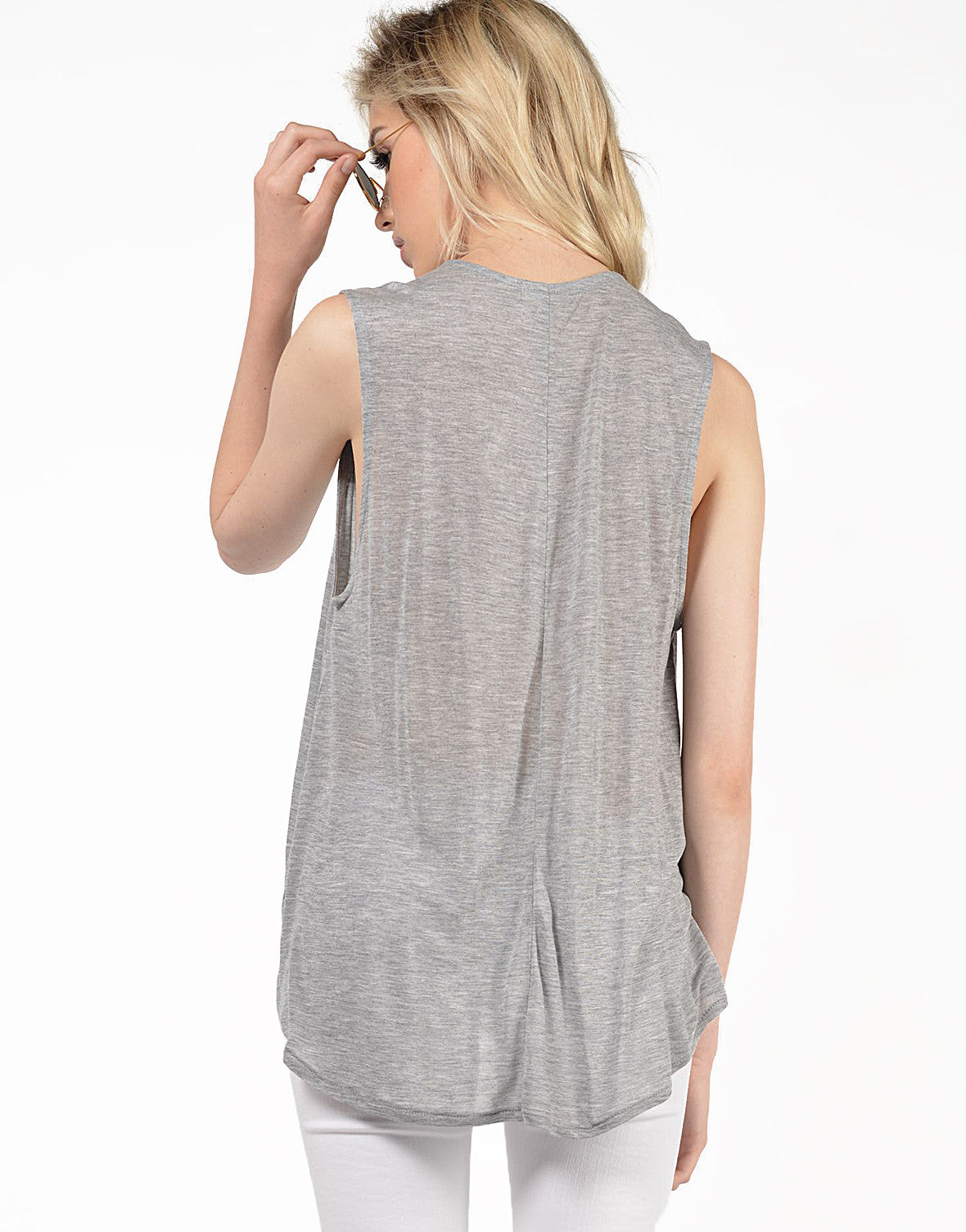 Back View of Deep V Draped Top