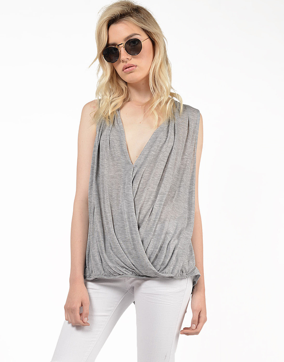 Front View of Deep V Draped Top