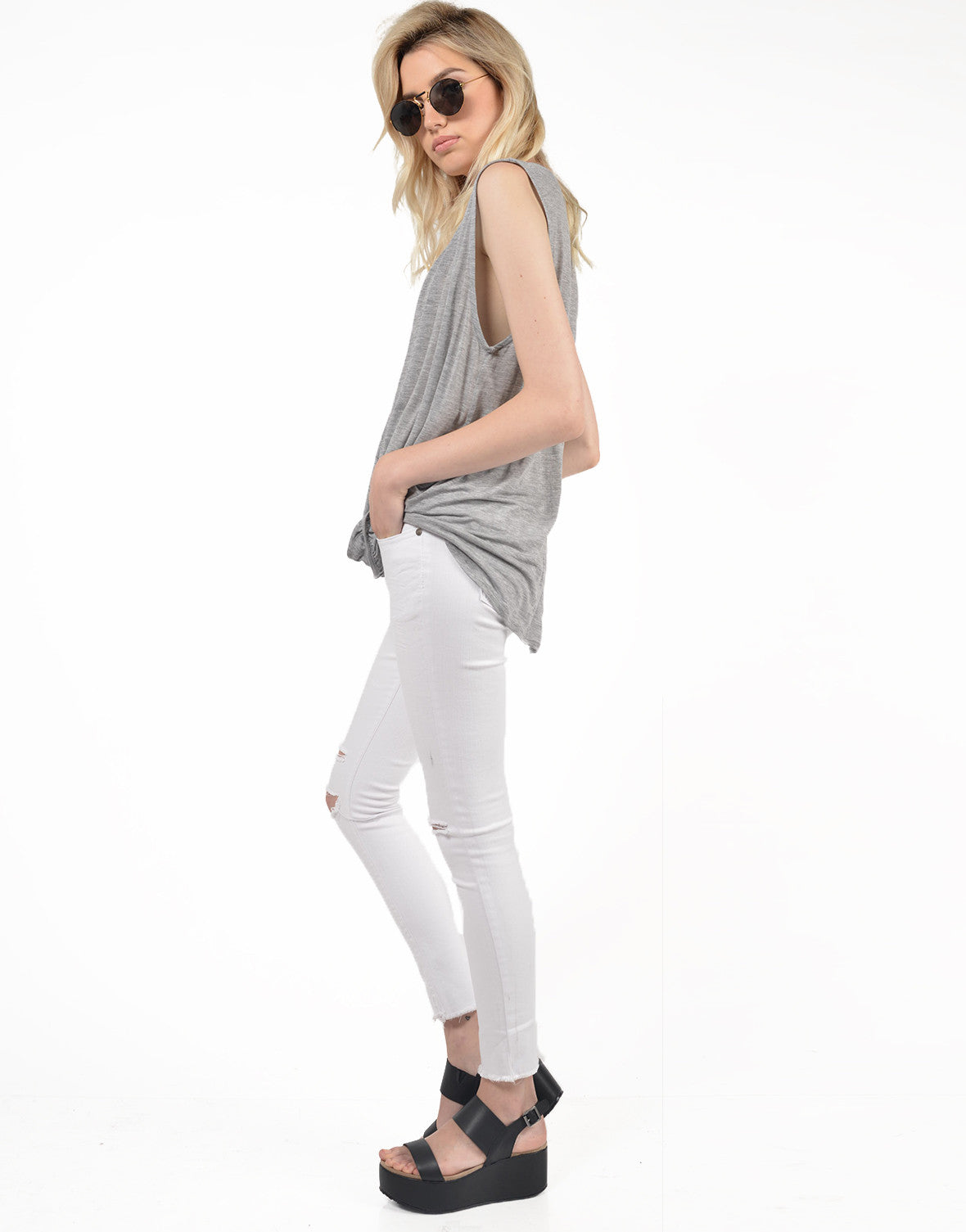 Side View of Deep V Draped Top