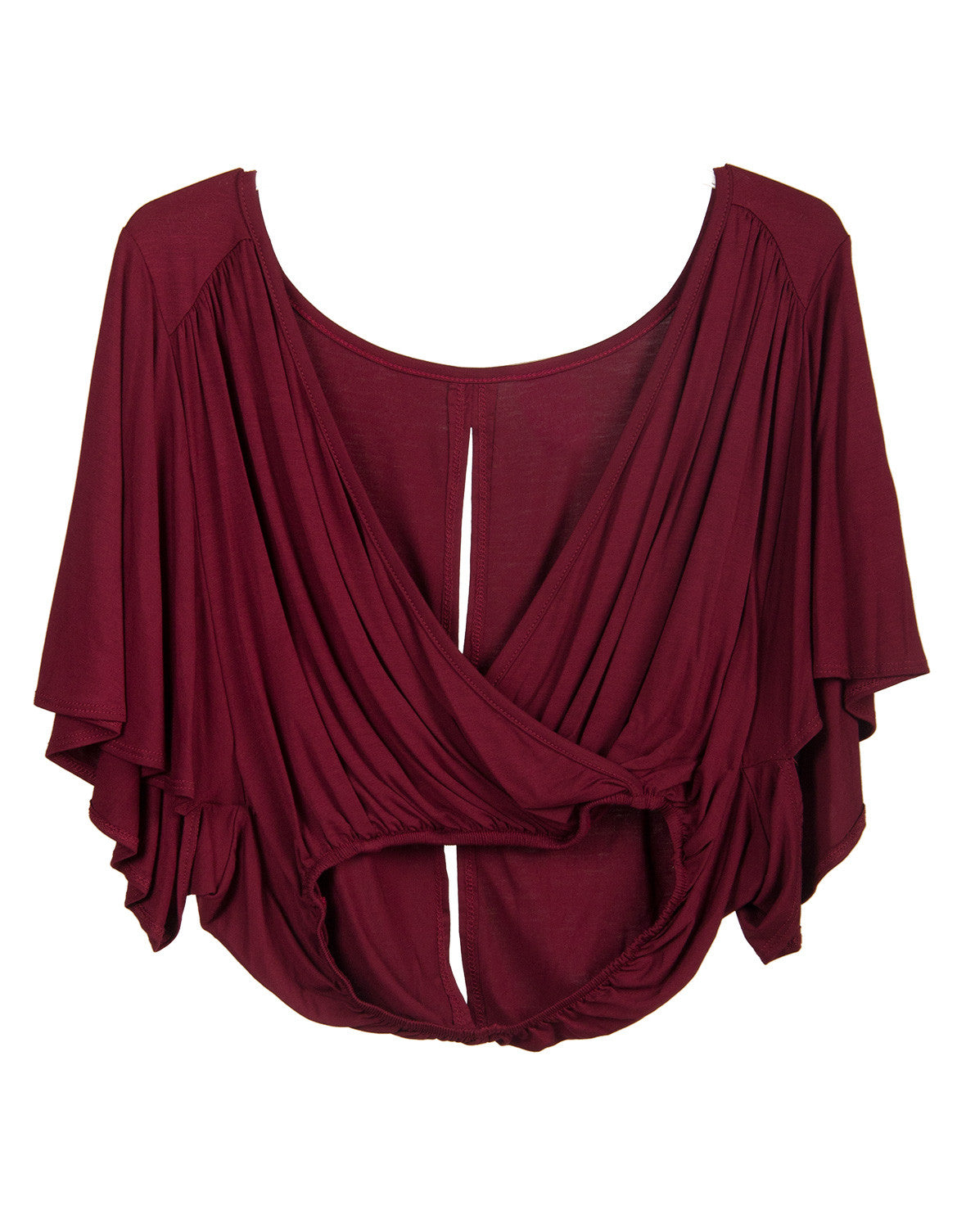 Deep Wrap V-Neck Top - Burgundy - Large