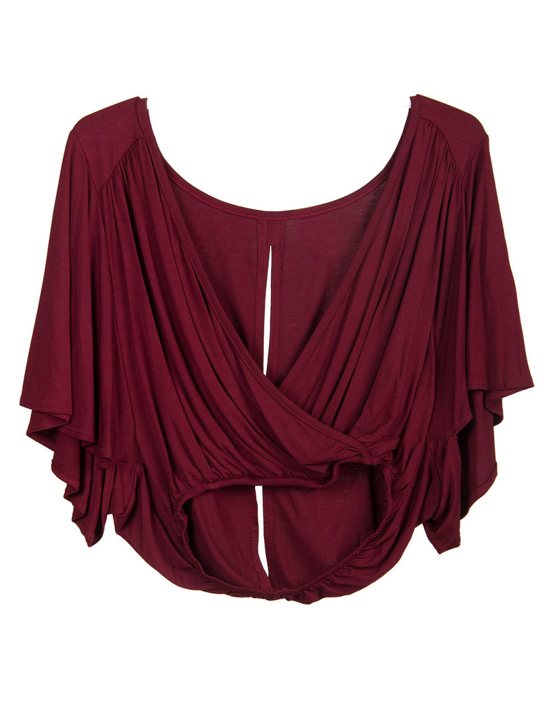 Deep Wrap V-Neck Top - Burgundy - Large - 2020AVE