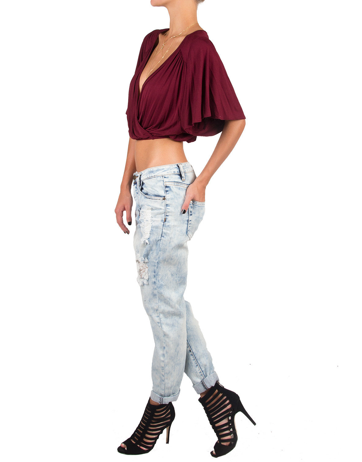 Deep Wrap V-Neck Top - Burgundy - Gibiu GMT-2096-Burgundy