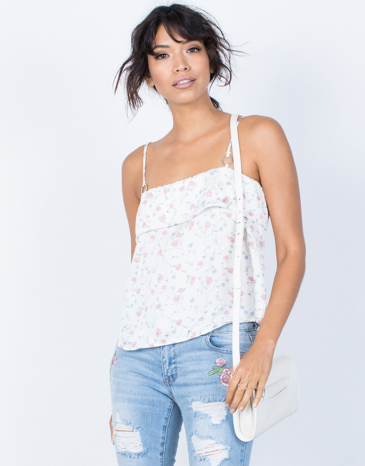 Ivory Delicate Floral Cami - Front View