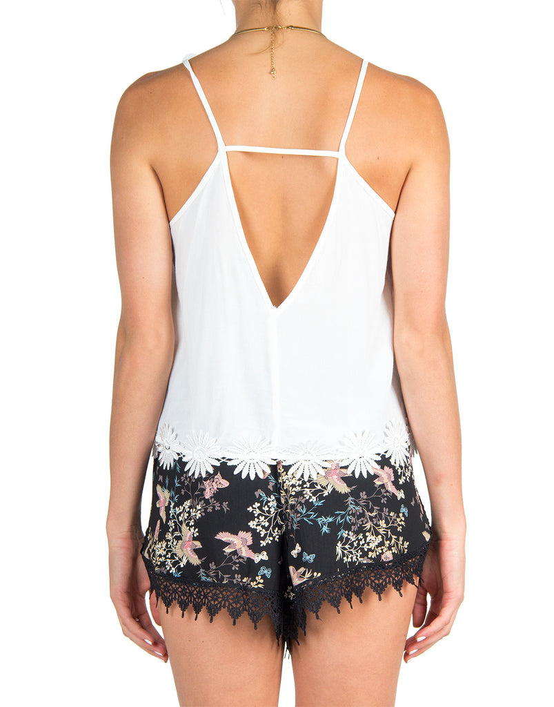 Delicate Floral Detail Tank - 2020AVE