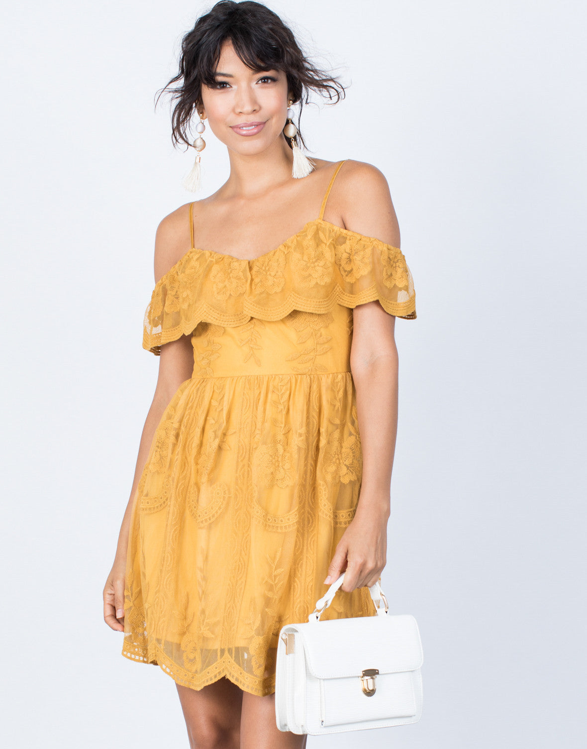 Mustard Delightful Crochet Dress - Front View